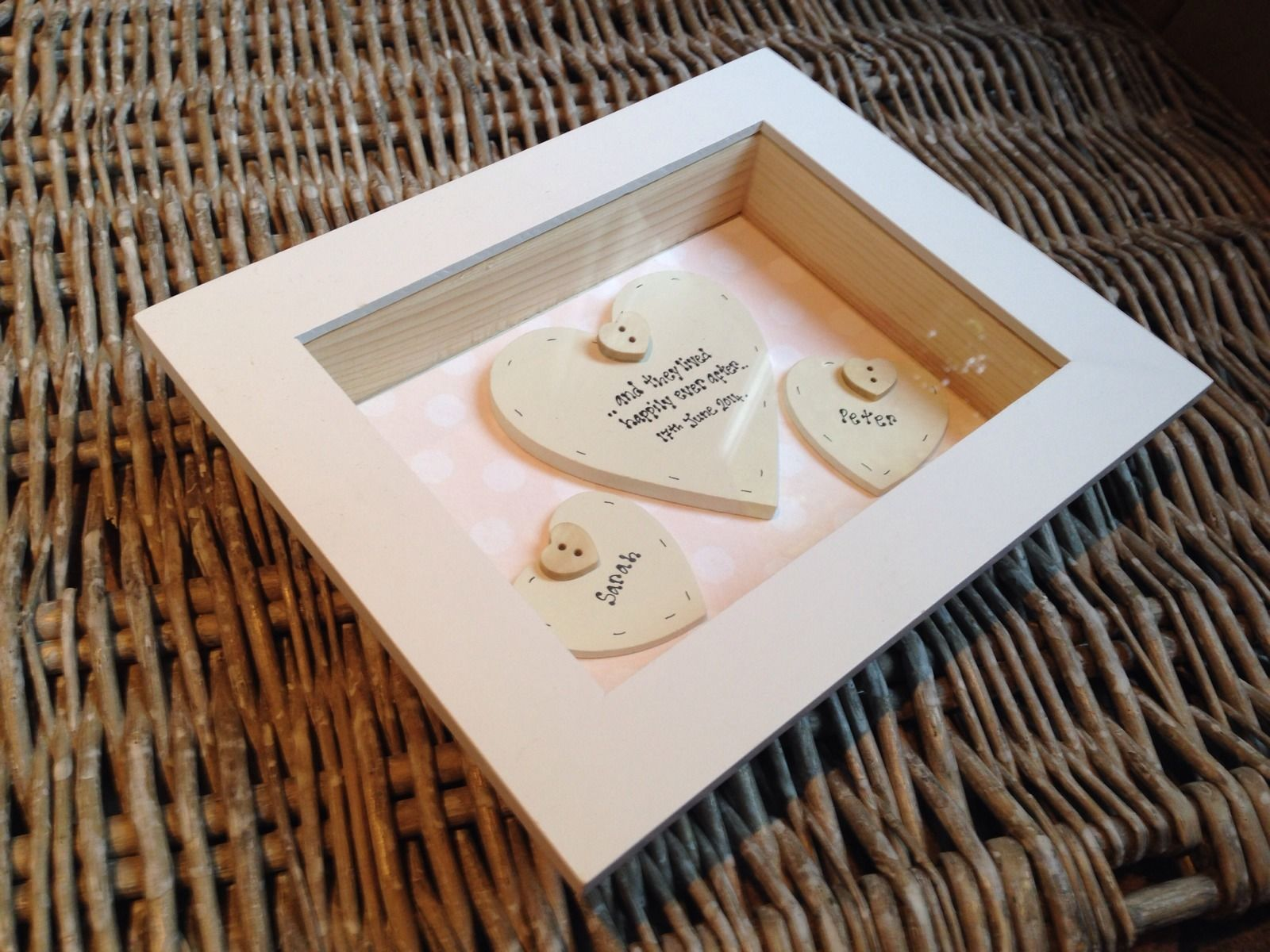 Shabby Personalised Chic Box Frame Gift For Bride Groom On Wedding